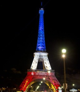 The Eiffel Tower, illuminated in the wake of the Paris Attack. Sadness in its eyes.